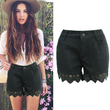 Patchwork Shorts Hollow Out Slim Pants Jeans [10399254221]