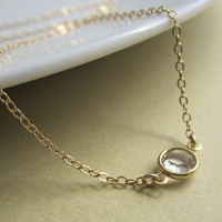 Tiny Crystal Sparkle Necklace, Thin gold chain