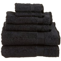 Cotton Craft Ultra Soft 6 Piece Towel Set Black, Luxurious 100% Ringspun Cotton, Heavy Weight & Absorbent, Rayon Trim - 2 Oversized Large Bath Towels 30x54, 2 Hand Towels 16x28, 2 Wash Cloths 12x12