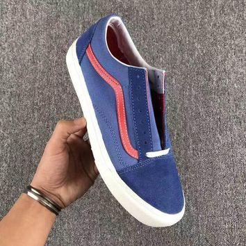 Vans Fashion Casual Trending Classic Canvas Old Skool Flats Sneakers Sport Shoes Denim blue G