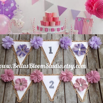 Birthday Banner Girl First Birthday Banner One Highchair Banner One Photo Prop,Pink Party decor,Winter Onderland First Princess Party etsy