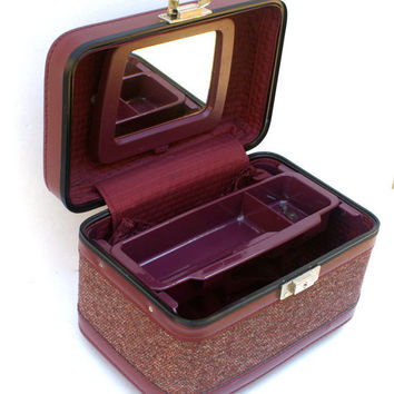 Vintage Train Case Tweed Cosmetics Case Overnight Luggage