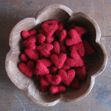 Felted wool hearts, Red, wholesale set of 50