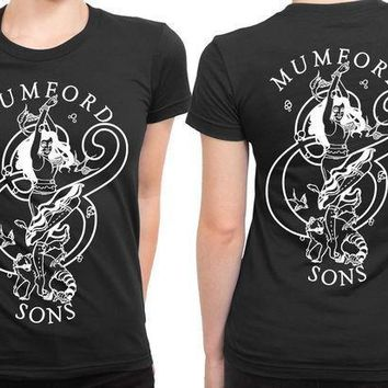 Mumford And Sons Logo Girl Art Black And White 2 Sided Womens T Shirt