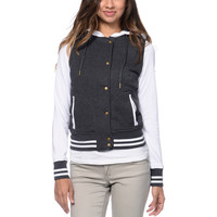 Empyre Girls Madison Charcoal & White Fleece Varsity Jacket at Zumiez : PDP