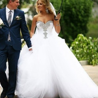 Designers Long Princess Sweetheart Crystal Wedding Dresses Ball