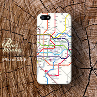 iPhone 5 case, iPhone 4S case, Decoupage case for iPhone :  Subway map print.