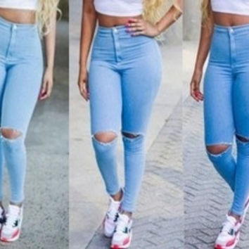 2015 New Fashion Summer Hot Sale Women Jeans Pencil Pants Mid Full Length Sexy Hole Skinny High Waist Jeans Trousers Plus Size = 5709395201