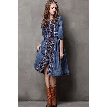 Vintage Cotton Denim Casual Dress