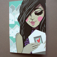 Postcard Home Is Where the Heart Is,handdrawn girl,purple dress, dots,pastel colors,white family houses,mint and pink, greeting card, hearts