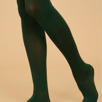 Women's Opaque Tights Forest Green