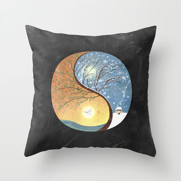 OPPOSITES LOVE - Yin-Yang Tree: Summer-Winter 2 Throw Pillow by Paula Belle Flores