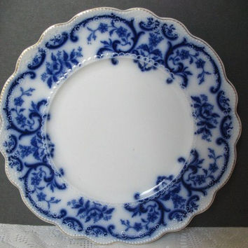 Antique Flow Blue, W. H. Grindley Portman, Dinner Plate