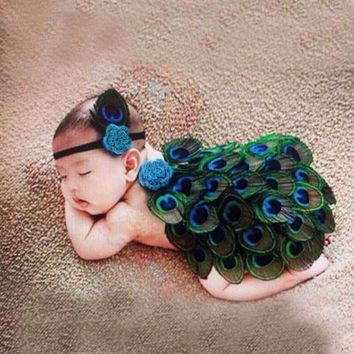 Newborn Crochet Knit Peacock Costume Photo Prop