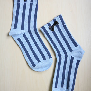 Bow Striped Socks - Blue