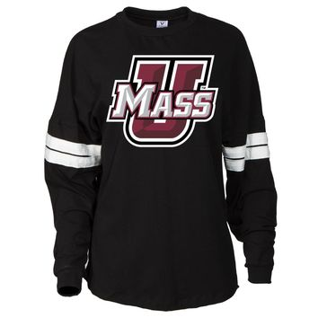 Official NCAA UMASS  Minutemen - RYLMAS06 Women's Oversized Football Tee with Stripes