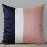 Silk Colorblock Pillow Cover (20x20) Navy, Cream + Blush Pink by JillianReneDecor | Minimal Modern Home Decor | Metallic Color Block Pillow