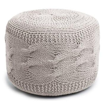 Square Cable Knit India Made Pouf in 3 Colors