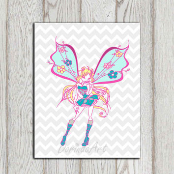 Fairy printable Little girls bedroom decor Fairy poster print Pink Turquoise gray chevron Nursery Wall art decor Gift idea Instant download
