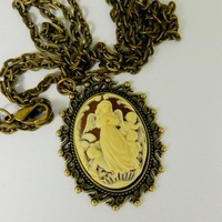 Guardian Angel Cameo Pendant Necklace Angels  Cupid Jewelry 18 x 25 mm Victorian Cameo