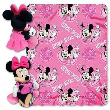 Minnie Mouse Cheerleader New York Yankees MLB Throw and Hugger Pillow Set