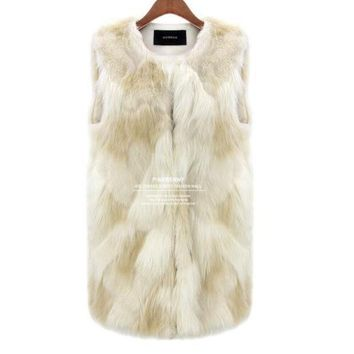 [new] Sexy Fur Vest Women Rabbit Fur Vest Faux Fur Coats For Women Winter Autumn Brand Sale Fur Vest Coat Fashion Outwear S~3xl