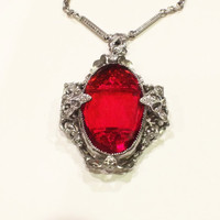 Antique Art Deco Lavalier Necklace, Rhodium Plated Filigree Metal, Red Glass Cabochon, 1920s
