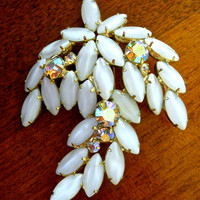 JULIANA D&E White Opalescent Brooch, ABs, Floral Leaf, Verified, Vintage