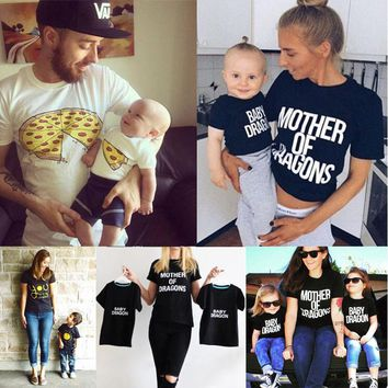 2017 Fashion Family Match Clothes Mother Father Son Baby Girls Boy Kid Shirt T-shirt Tops Short Sleeve Summer Clothes