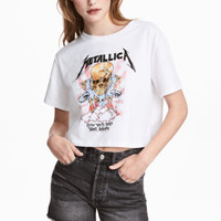 Short T-shirt - White/Metallica - Ladies | H&M GB