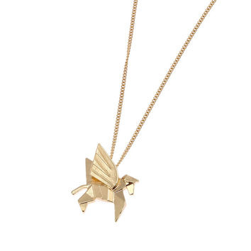 Gold Pegasus Geometric Pendant Necklace