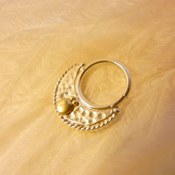 Crescent septum ring. Indian Tribal Belly Dance septum ring. Nose Ring. Gold septum Ring. Silver Septum ring.