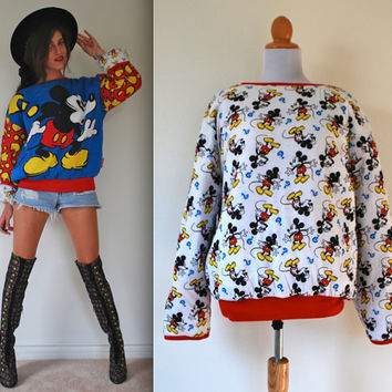 Vintage 80s 90s Confused Mickey Reversible Pillow Padded Sweatshirt