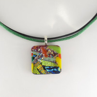 Dichroic Glass Necklace, Glass Pendant, Square Pendant, Green Red Gold Pendant, Fused Glass Jewelry, Dichroic Jewelry