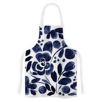 "Crystal Walen ""Watercolor Floral"" - Navy Painting Artistic Apron"