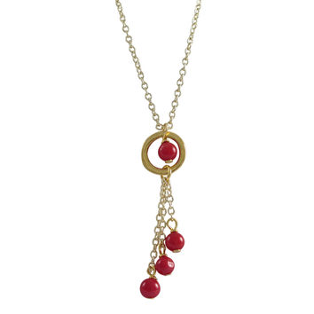 Genuine Red Coral 4mm Balls And Coral 4mm Ball In Ring, Lariat Style Necklace, Gold Plated Brass Chain, 16