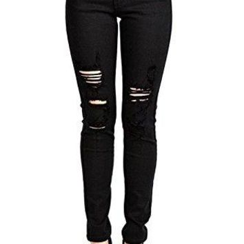 Kan Can Women's Mid Rise Destroyed Skinny Jeans KC6040