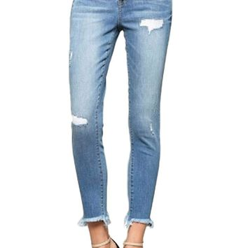 Vervet by Flying Monkey Blue Ridge Exposed Button Up Fly Mid Rise Medium Light Wash Raw Hem Ankle Skinny Jeans VT295