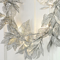 Silver Leaf Fairy Lights Garland