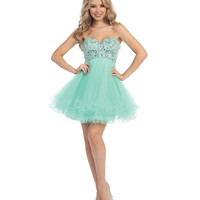 Mint Empire Waist Beaded Short Dress 2015 Homecoming Dresses