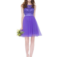 Short Purple Lilac Dress for Bridesmaid Round Neck Sleeveless Wedding Party Dress