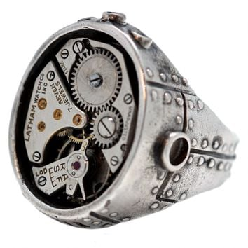 """Industrial Steam Watch Movement"" Ring by Blue Bayer Design (Sterling Silver)"