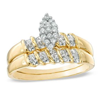 1/10 CT. T.W. Diamond Marquise Cluster Bridal Engagement Ring Set in 14K Yellow Gold