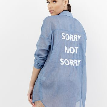 SORRY NOT SORRY LINEN BLOUSE - BLUE