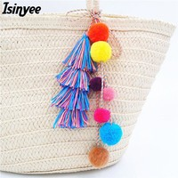 ISINYEE Fashion Velvet Pompom Tassel Key Chains For Women Bags Accessories 2017 Fluffy Pom Pom Ethnic Keychain Bohemian Jewelry