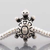 European Charm Metal Bead Turtle