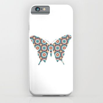 BUTTERFLY SILHOUETTE WITH PATTERN iPhone & iPod Case by deificus Art
