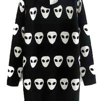Winter Cute Alien Long Sleeved Sweater Black Size S