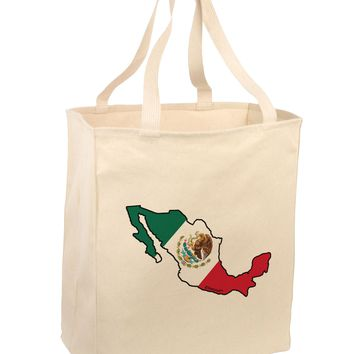 Mexico Outline - Mexican Flag Large Grocery Tote Bag by TooLoud