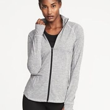 Full-Zip Melange-Stripe Performance Jacket for Women |old-navy
